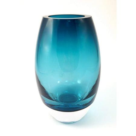 (D) Centerpiece 'Radiant' Peacock Blue-Colored Decorative Crystal Flower Vase 9