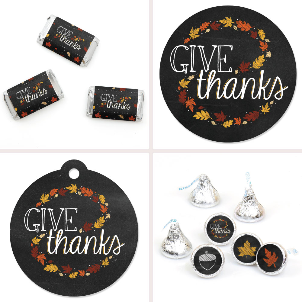 Give Thanks - Thanksgiving Party Decorations Favor Kit - Party Stickers & Tags - 172 pcs