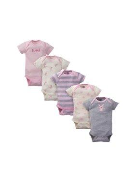 f3cec28da Product Image Gerber Organic Cotton Short Sleeve Onesies Bodysuits, 5 Pack (Baby  Girls)