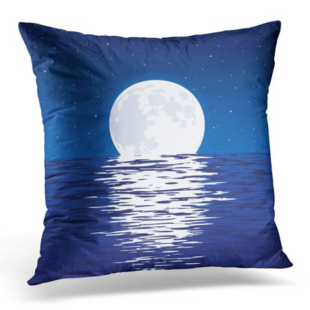 ARHOME Blue Sea and Full Moon at Night Light Reflection Moonlight in Wavy Ocean Water and Stars Dark Sky Pillow Case Pillow Cover 18x18 inch