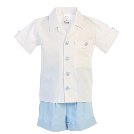 Baby Boys Light Blue Poly Cotton Shirt Rayon Linen Shorts