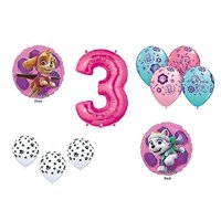 Paw Patrol GIRL'S Dog 3rd #3 Third Pink 10 Piece Birthday Party Mylar and Paw Latex Balloons Set...Plus (1) 66' Roll of Curling Balloon Ribbon B