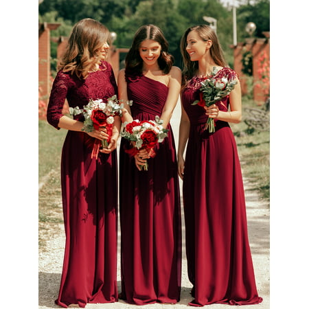 Ever-Pretty Women's Elegant A-Line Long Lace Sleeve Mother of the Bride Wedding Brideismaid Dresses for Women 07412 (Burgundy 4