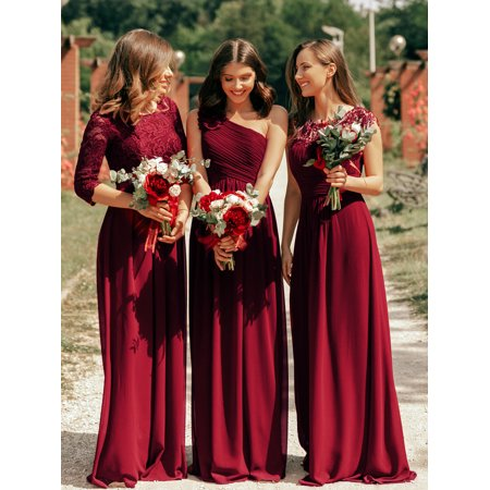 Ever-Pretty Women's Elegant A-Line Long Lace Sleeve Mother of the Bride Wedding Brideismaid Dresses for Women 07412 (Burgundy 4 US)