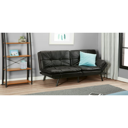 Contemporary Black Faux Leather Convertible Memory Foam