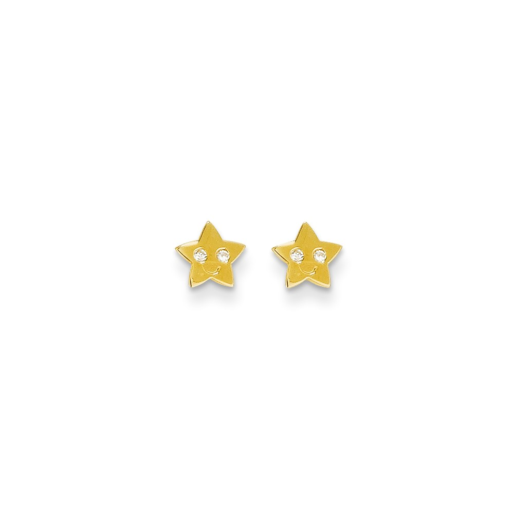 14k Yellow Gold Children's CZ Smiling Star Baby Post Earrings. (5.6MM)