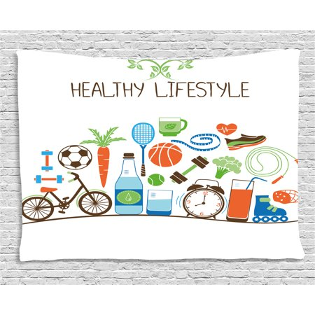 Fitness Tapestry  Healthcare Theme Athletic Energetic Life Routine Wellness Gym Equipment Vegetables  Wall Hanging For Bedroom Living Room Dorm Decor  60W X 40L Inches  Multicolor  By Ambesonne