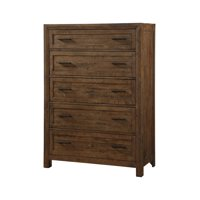Emerald Home Pine Valley Carmel Brown Dresser with Solid Wood Planking And Hammered Hardware, 5-drawer