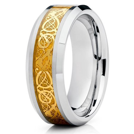 Tungsten Wedding Band 8mm Silver Tungsten Ring 18K Yellow Gold Tungsten Carbide Ring Polished Dragon Mens Womens Comfort Fit - Dragon Ring Jewelry