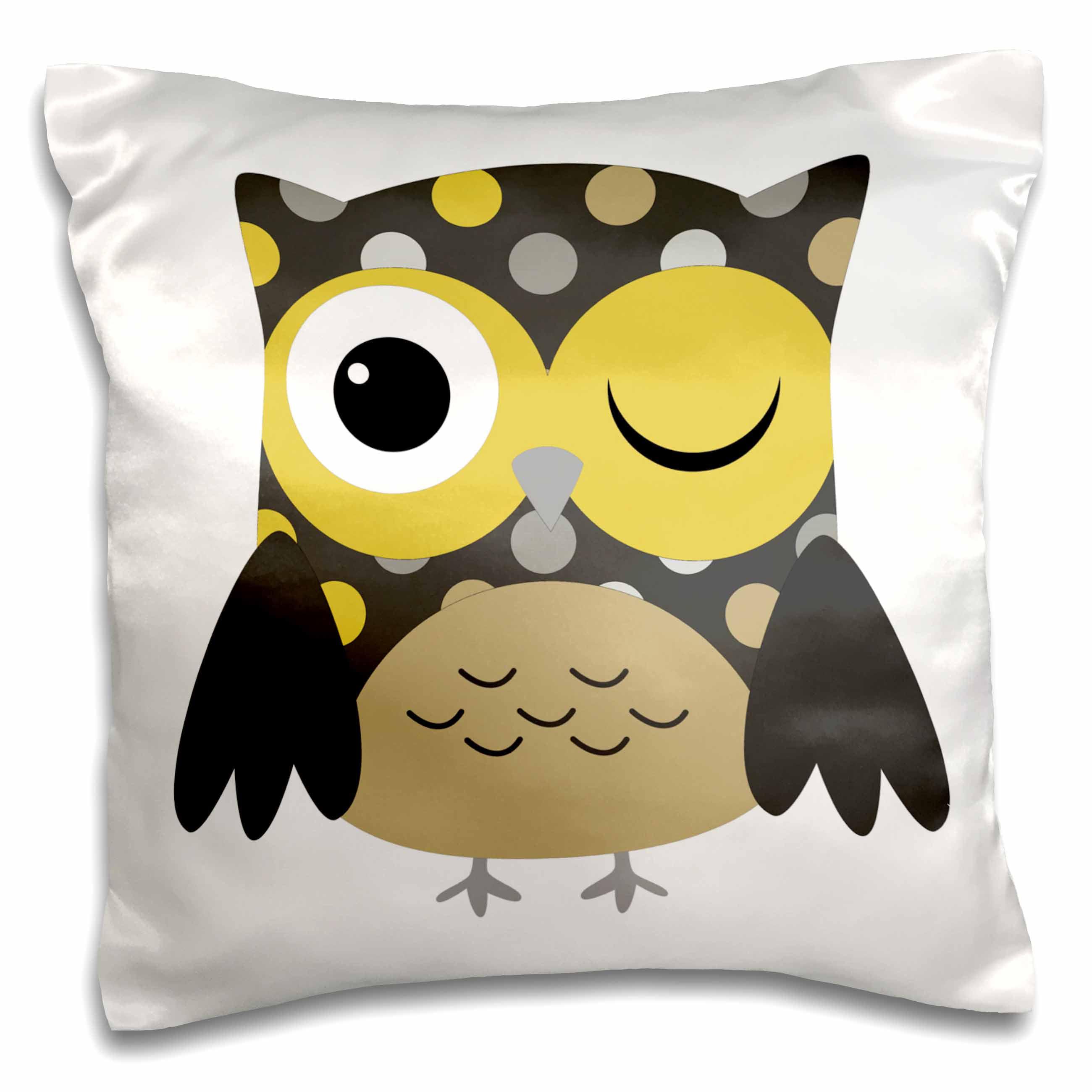 3dRose Cute Yellow Polka Dot Owl, Pillow Case, 16 by 16-inch