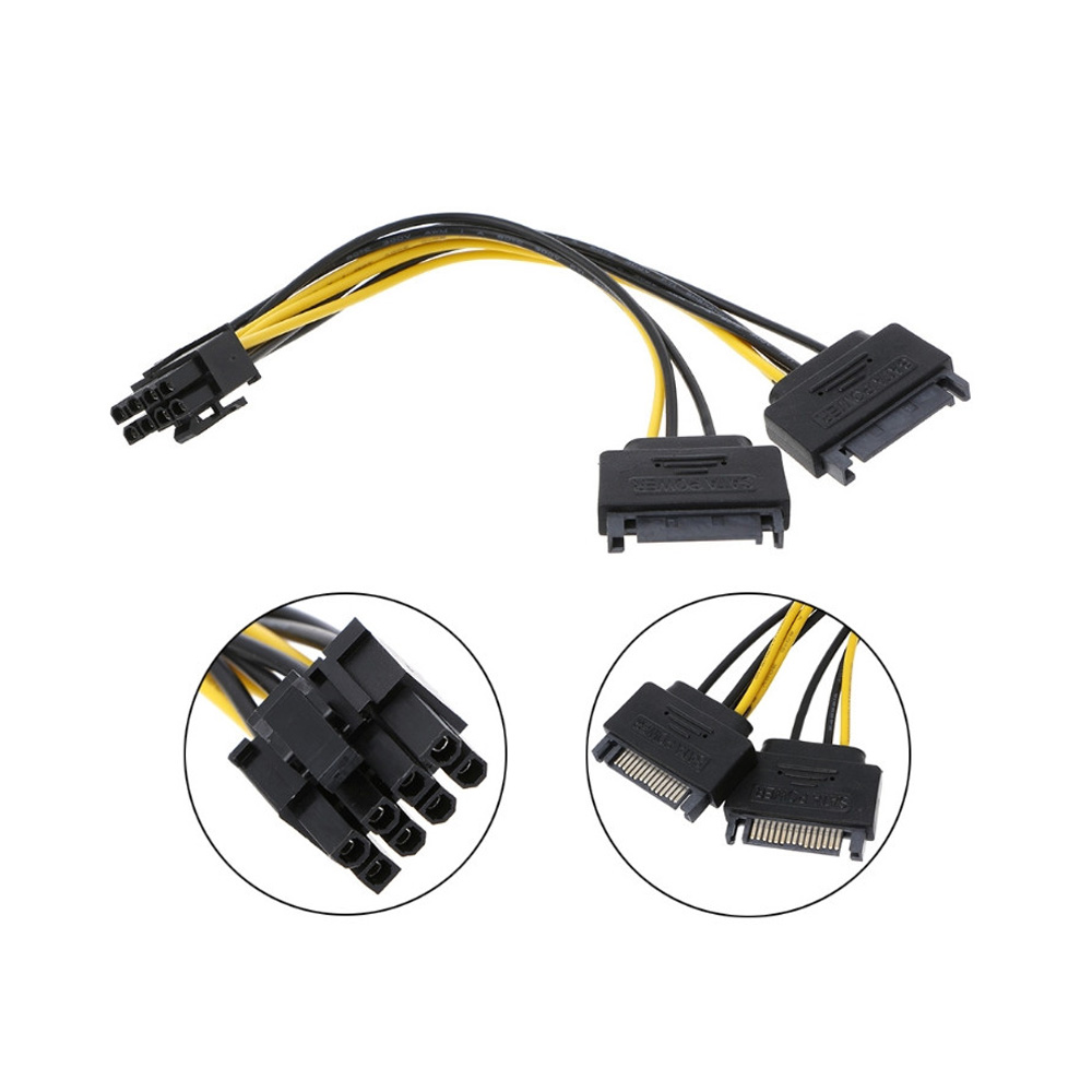 Dual 15Pin SATA Male To PCIe 8Pin 6+2 Male Video Card Power Cable