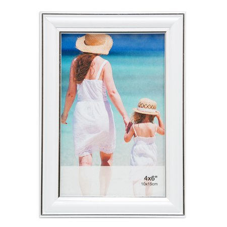 Enigma 4 In. by 6 In Picture Frame with Silver Lining, White ()