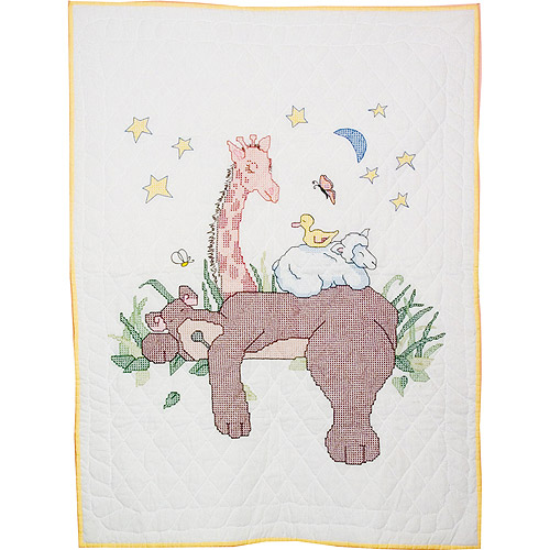 "Fairway Needlecraft Sleeping Bear Stamped Baby Quilt Top, 36"" x 50"""