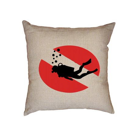 Scuba Diving Diver Icon over Scuba Red Flag Decorative Linen Throw Cushion Pillow Case with Insert
