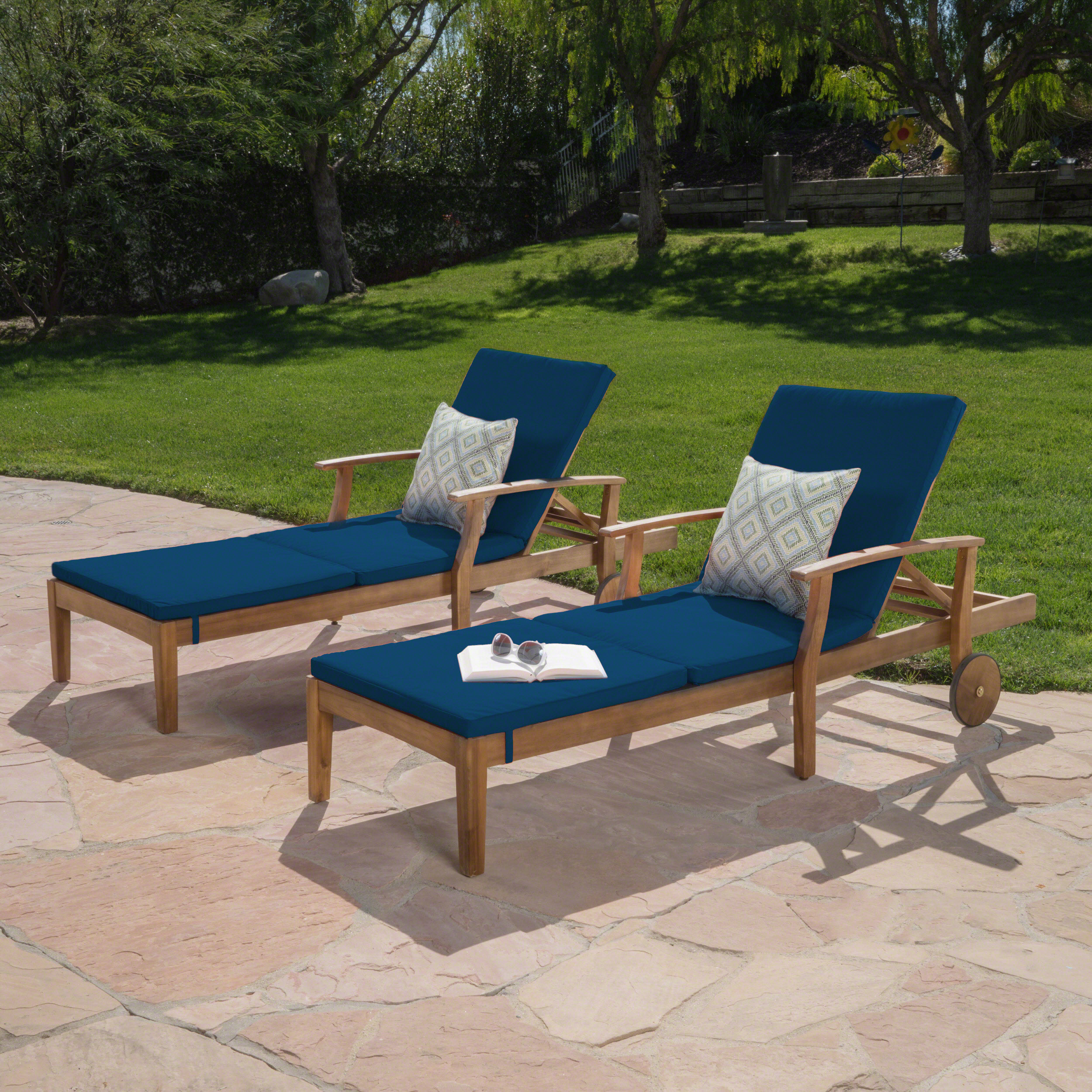 Daisy Outdoor Chaise Lounge with Water Resistant Cushion, Set of 2, Teak Finish and Blue