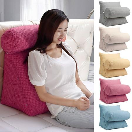 Adjustable Zipper Back Wedge Micro Plush Bedrest Cushion Pillow Sofa Bed Office Chair Rest Waist Neck Support