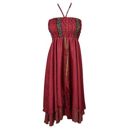 (Mogul Ready For Love Recycled Vintage Silk Sari Two Layer Bohemian Fashion Printed Beach Wear Evening Summer Dress)