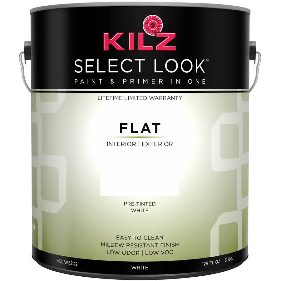 KILZ SELECT LOOK Interior/Exterior Flat Paint & Primer in One, White, 1 Gallon