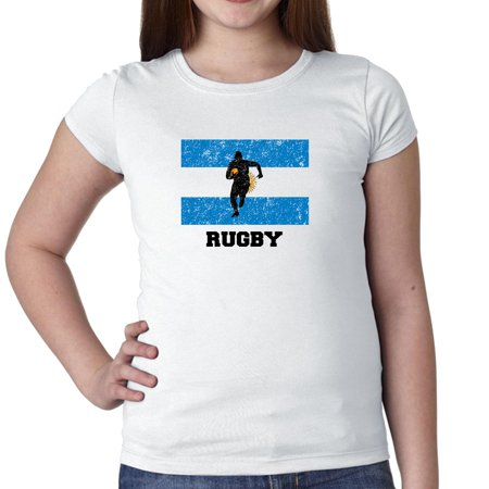 Argentina Olympic - Rugby - Flag - Silhouette Girl's Cotton Youth T-Shirt