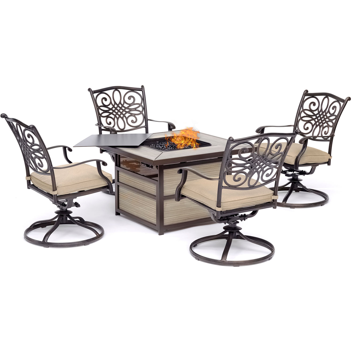 Hanover Traditions 5-Piece Firepit Chat Set with 4 Swivel Rockers in Tan with a 40,000 BTU Firepit Table by Hanover
