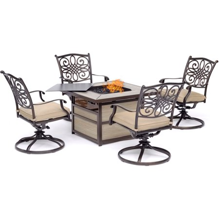 Hanover Traditions 5-Piece Fire Pit Chat Set with 4 Swivel Rockers in Tan with a 40,000 BTU Fire Pit Table ()
