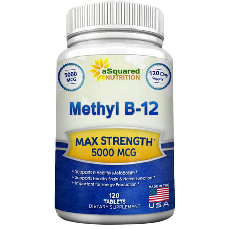 Asquared Nutrition Vitamin B12   5000 Mcg Supplement With Methylcobalamin  Methyl B 12    Max Strength Vitamin B 12 Support To Help Boost Natural Energy   Metabolism  Benefit Brain   Heart Function
