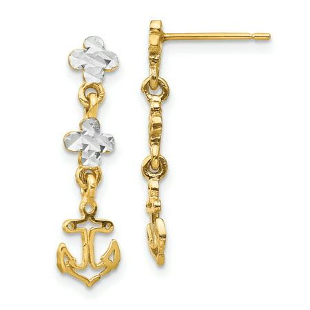 14K Yellow Gold & Rhodium Plated Polished & Diamond Cut Anchor Dangle Post Earrings Cut Dangle Yellow Gold Earrings