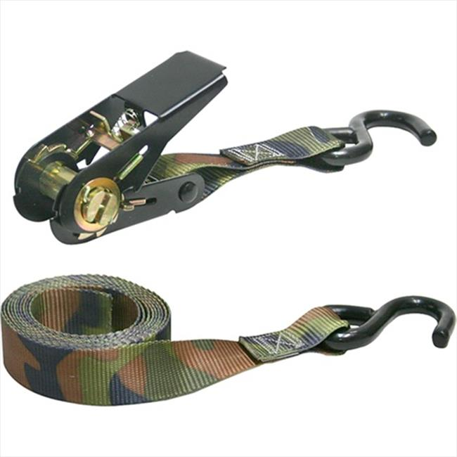 HAMPTON PROD 03508V 8 Ft. X 1 In. Ratchet Tie-Down With S-Hooks, Camo, 4 Pack