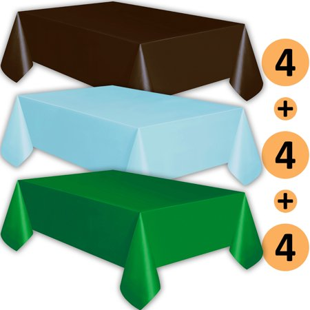 Brown Plastic Tablecloth (12 Plastic Tablecloths - Brown, Baby Blue, Emerald Green - Premium Thickness Disposable Table Cover, 108 x 54 Inch, 4 Each)