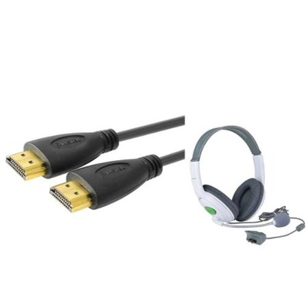 Insten Gaming Headset Earphone with Mic Microphone + 15' HDMI Cable For Xbox 360 / Xbox 360