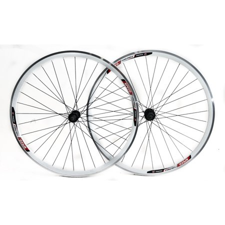 Speed Aero 700c Road Bike Double Wall Alloy Wheelset 8-10 Speed White QR