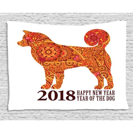 Flowers 2010 Wall Calendar - Year of the Dog Tapestry, Canine Design with Blooming Flowers and Hearts 2018 Festive Asian Calendar, Wall Hanging for Bedroom Living Room Dorm Decor, 60W X 40L Inches, Multicolor, by Ambesonne