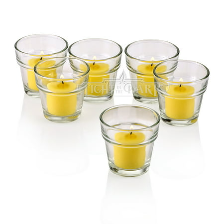 Clear Glass Flower Pot Votive Candle Holders With Yellow Votive Candles Burn 10 Hours Set Of (Votive Pot)