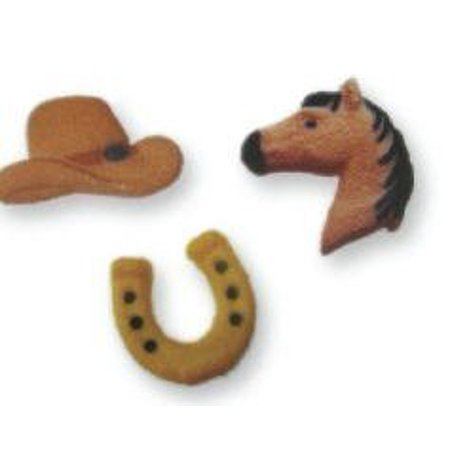 BundleOfBeauty Item#33956- Horse & CowBoy Edible Sugar Cupcake & Cake Decoration Topper - Cowboy Cupcakes