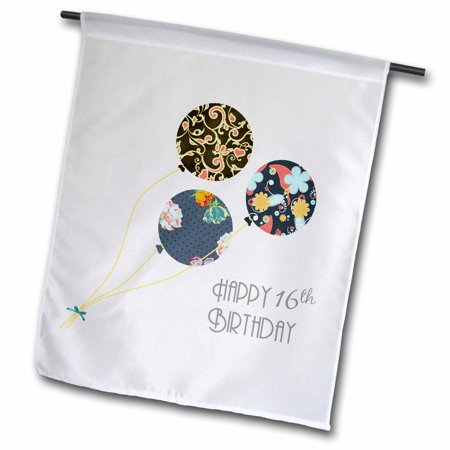 Image of 3dRose Happy 16th Birthday - Modern stylish floral Balloons. Elegant black brown blue 16 year old Bday - Garden Flag, 12 by 18-inch