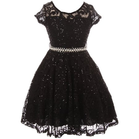 Big Girls' Short Sleeve Lace Glitter Skater Pearl Belt Special Occasion Flower Girl Dress Black 14 (J21KS02) - Black Girl Dresses