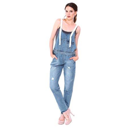 c73c9d9e50 Women Blue Ripped Denim Pants Loose Jeans Hole Overalls Jumpsuit Pants  Image 1 of 3