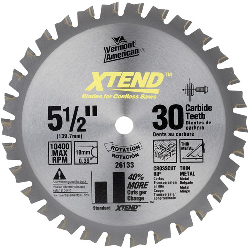 Vermont American 26133 5-1/2-inch 30 Tooth XTEND Cordless...