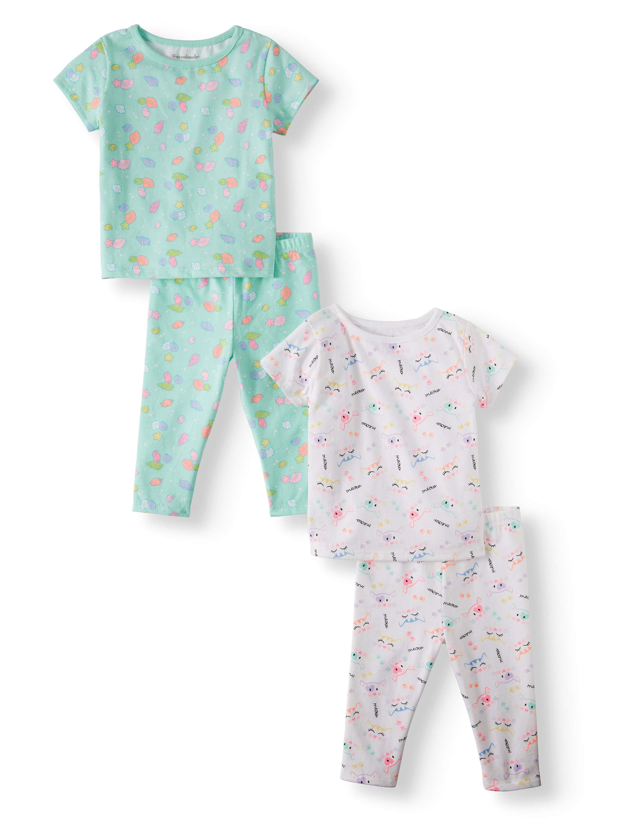 Mix & Match Print Tees & Leggings, 4pc Outfit Set (Baby Girls)