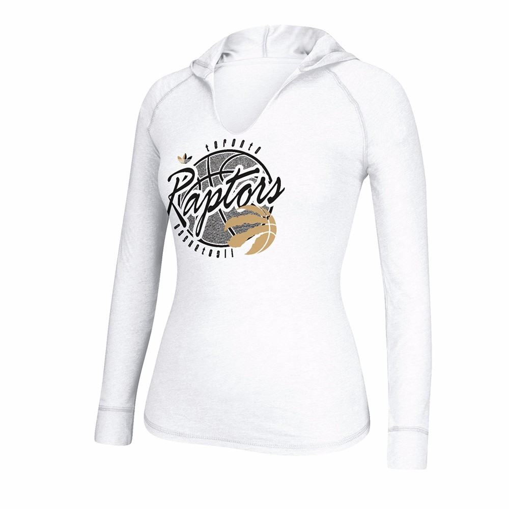 """Toronto Raptors NBA Adidas White """"Well Rounded"""" Heather Hooded Long Sleeve T-Shirt For Women by Adidas"""