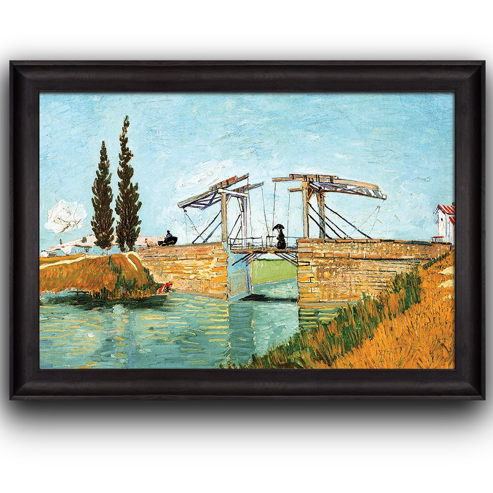 wall26 - The Langlois Bridge by Vincent Van Gogh - Oil Painting, Impressionist, Artist - Framed Art Prints, Home Decor - 16x24 inches