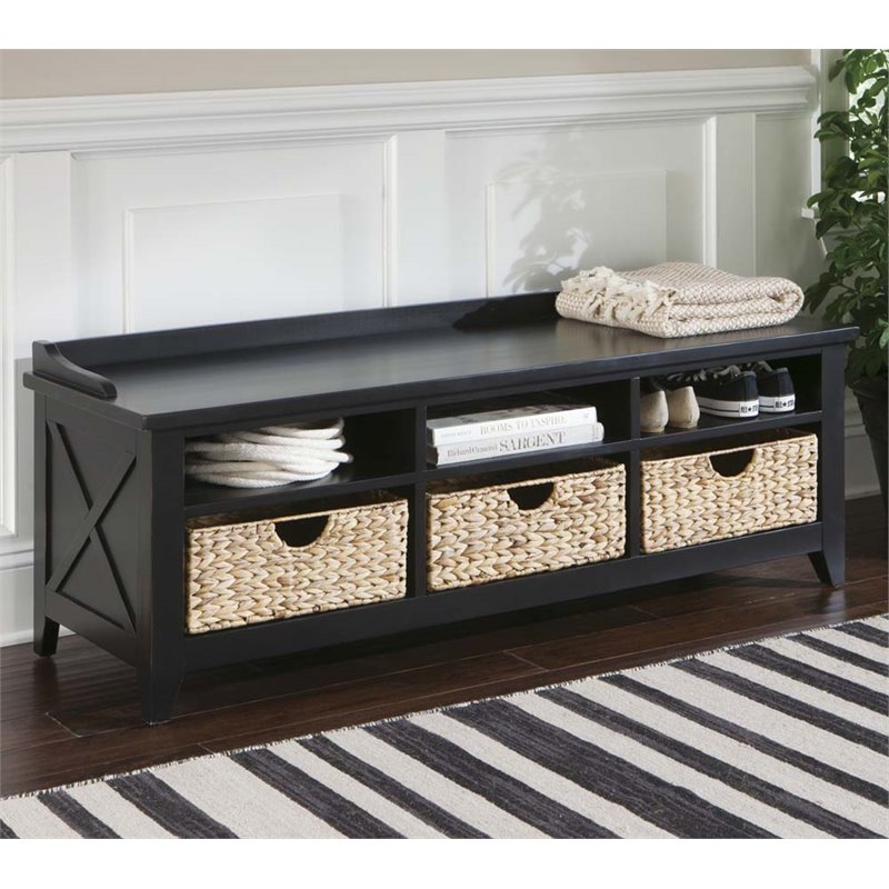 Liberty Furniture Hearthstone 6 Cubby Storage Bench In Rustic Black