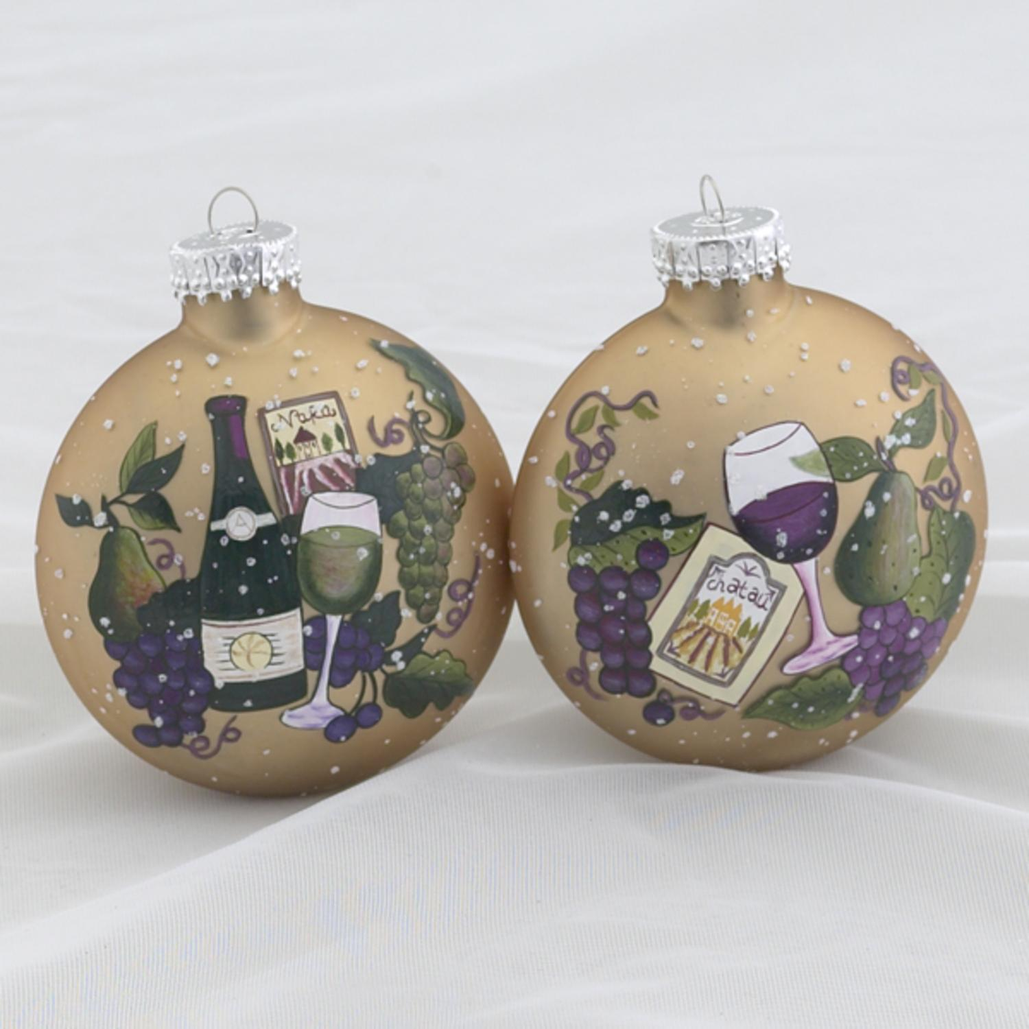 "Set of 2 Tuscan Winery Themed Glass Ball Christmas Ornaments 3.5"" (90mm)"