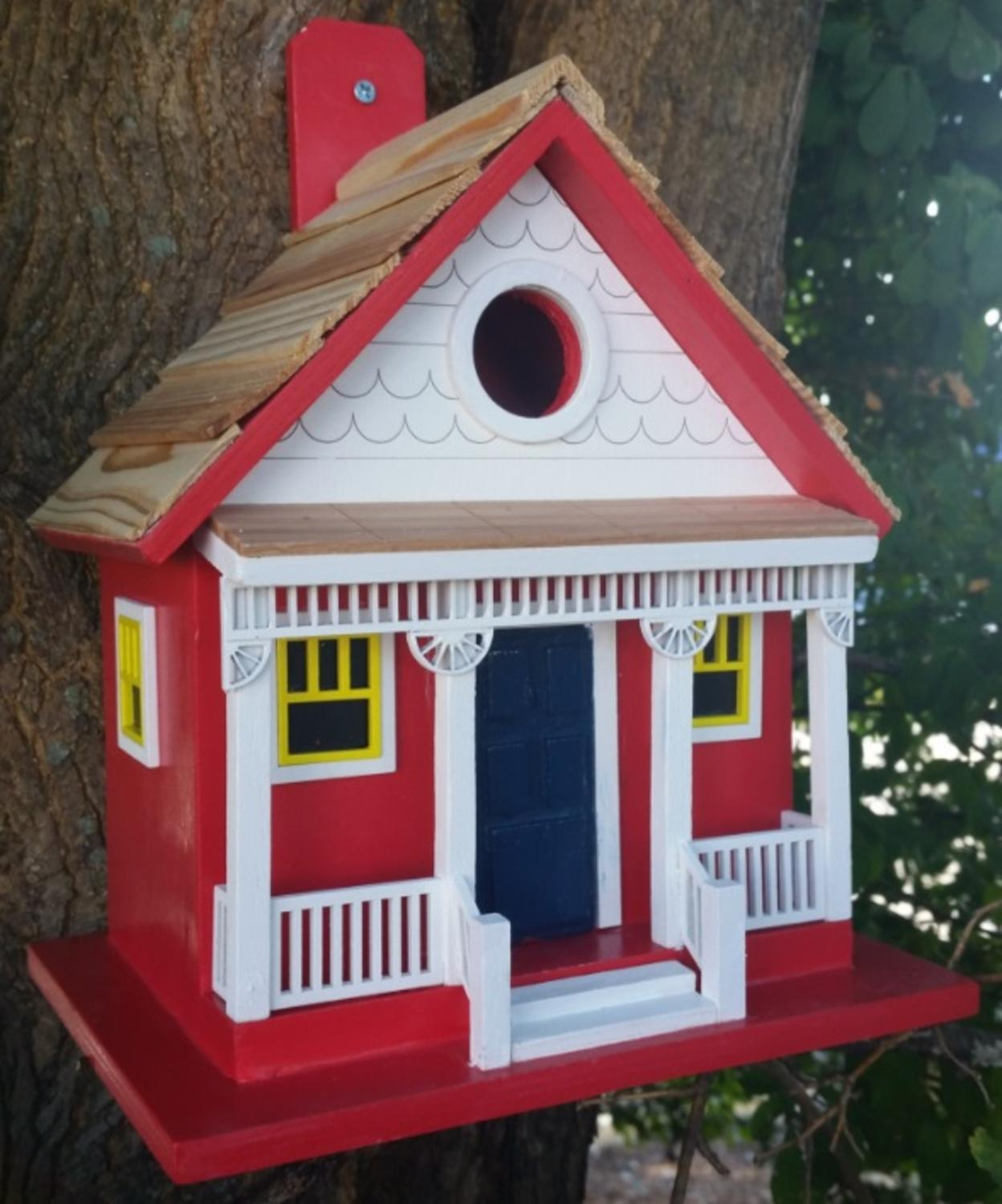 "8.75"" Fully Functioning Red Capitola Cottage with Yellow Window Outdoor Garden... by CC Outdoor Living"