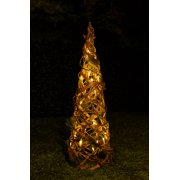 alpine rattan berries christmas cone tree w 20 led lights and timer 24