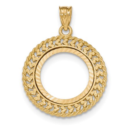 14k Yellow Gold Double Row Prong 1/10ae Bezel Necklace Pendant Charm Coin Holders/bezel American Eagle ()