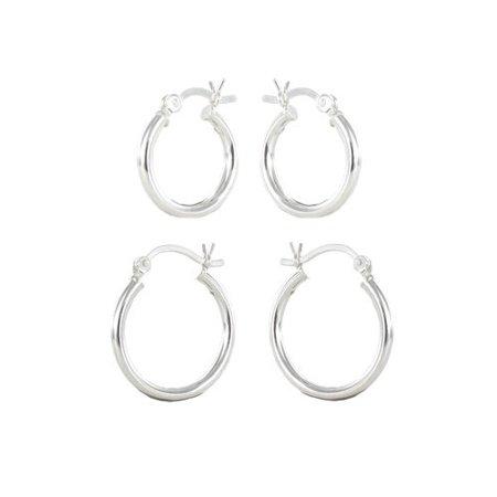 Sterling Silver Small Hoop Earrings 2 Pairs