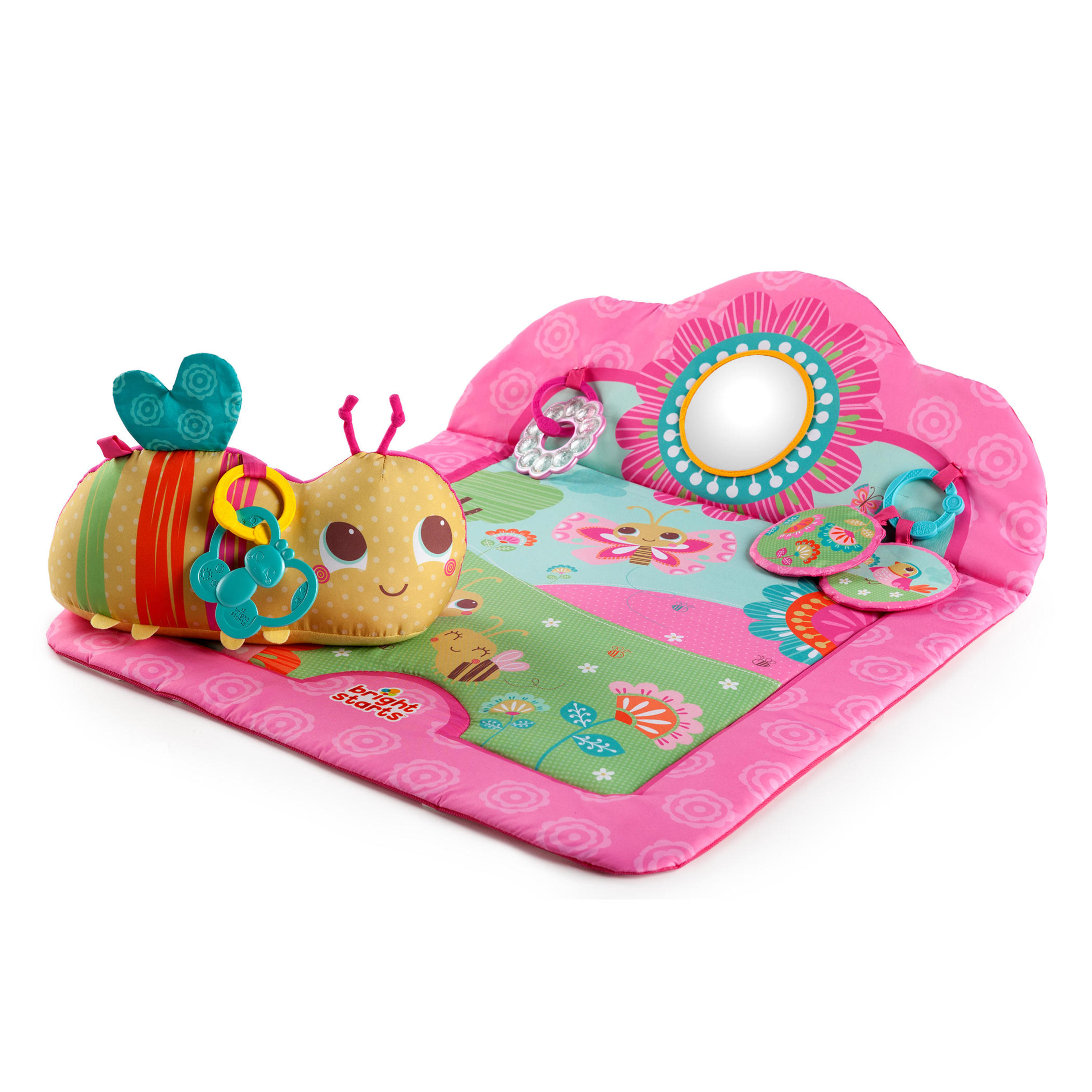 Bright Starts Prop Activity Play Mat with Support Pillow - Flowers & Friends