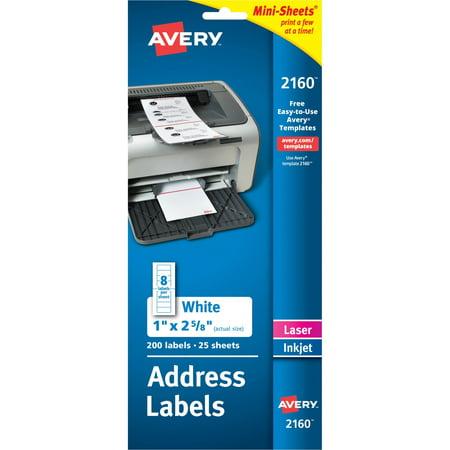 Avery Mini-Sheets Address Labels, 1 x 2 5/8, White, 200/Pack Avery Mini Sheet Label