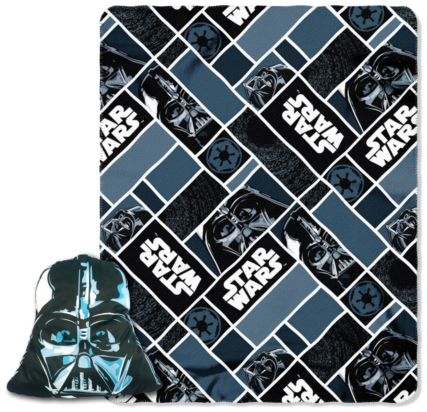 """Lucas Films' Star Wars, Big Mask Darth Vader 16"""" Applique Big Face Character Pillow and 40"""" by 50"""" Fleece Throw in Pocket Set by The Northwest Company"""